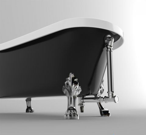 Exposed Bath Waste For Roll Top Bath 267x140mm
