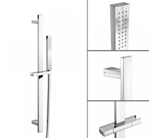 Square Shower Rail With Pencil Handheld