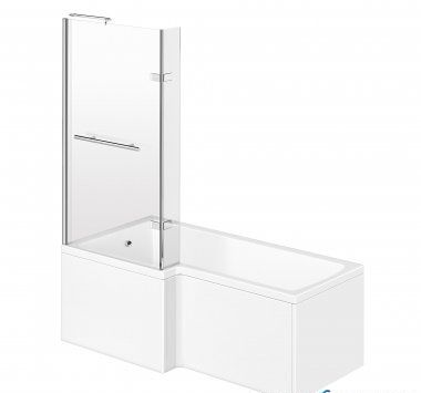 1500mm - L-Shaped Bath with Screen, Rail & Side Panel -Left Hand
