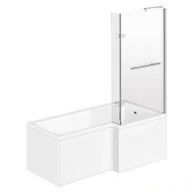 1500mm - L-Shaped Bath with Screen, Rail & Panels - Right Hand