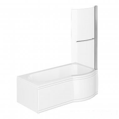 1500mm - P-Shaped Bath with Screen, Rail & Panels - Right Hand