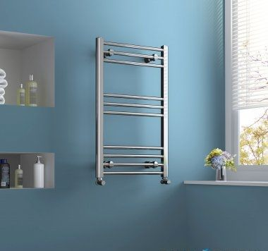 Chrome Heated Straight Rail Ladder Towel Radiator - 800x500mm