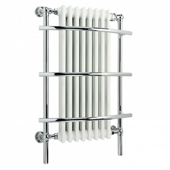 Traditional White Wall Mounted Towel Rail Radiator - 1000x635mm