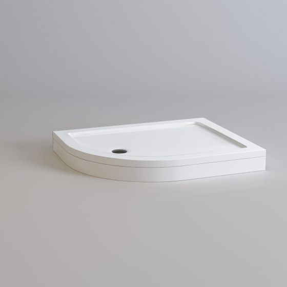 1000x800mm Offset Quadrant Easy Plumb Stone Shower Tray - Left
