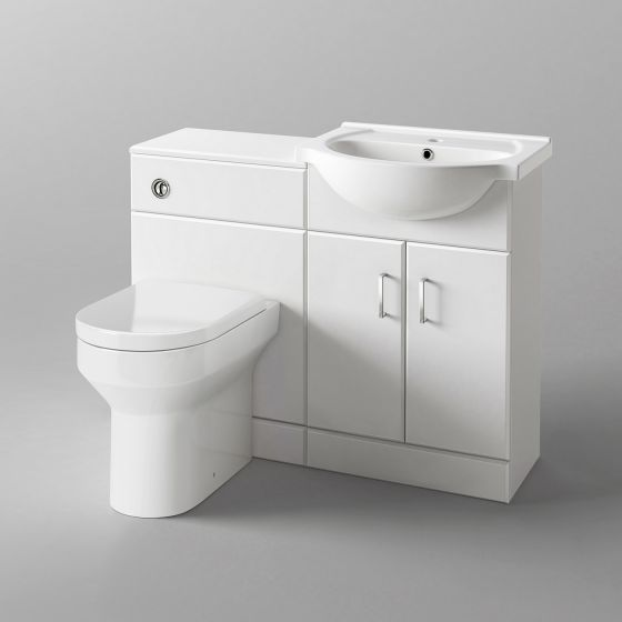 1048mm Quartz Gloss White Combined Suite with Toilet & Basin - C
