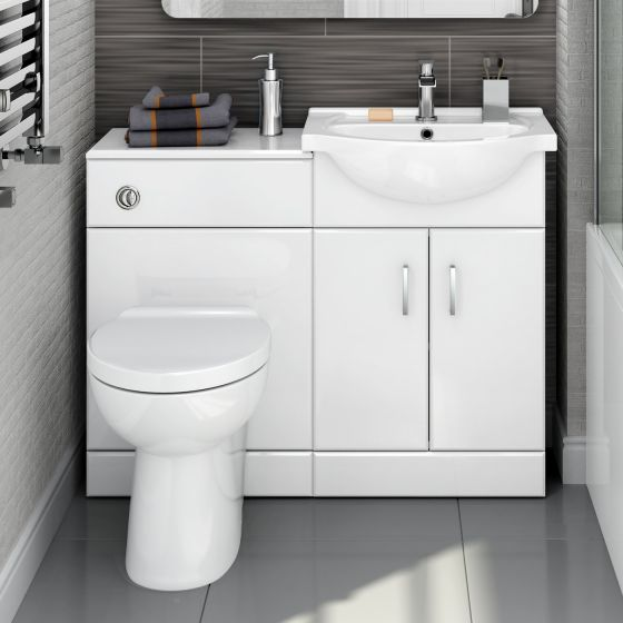 1048mm Quartz Gloss White Combined Suite with Toilet & Basin - Crosby II Pan