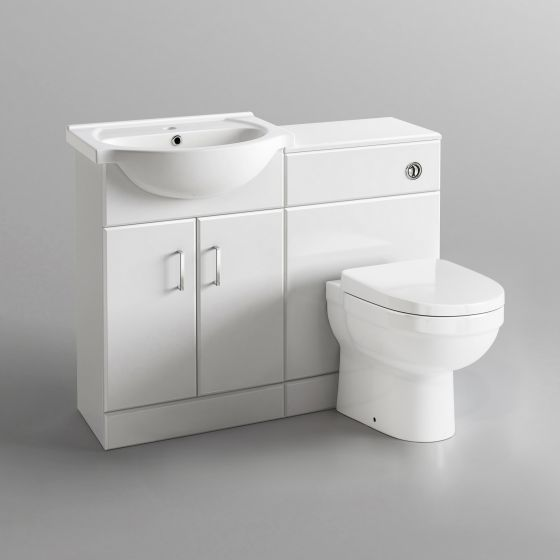 1048mm Quartz Gloss White Combined Suite with Toilet & Basin - S