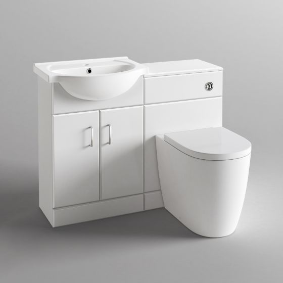 1138mm Quartz Gloss White Combined Suite with Toilet & Basin - L