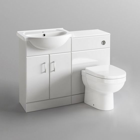 1138mm Quartz Gloss White Combined Suite with Toilet & Basin - S