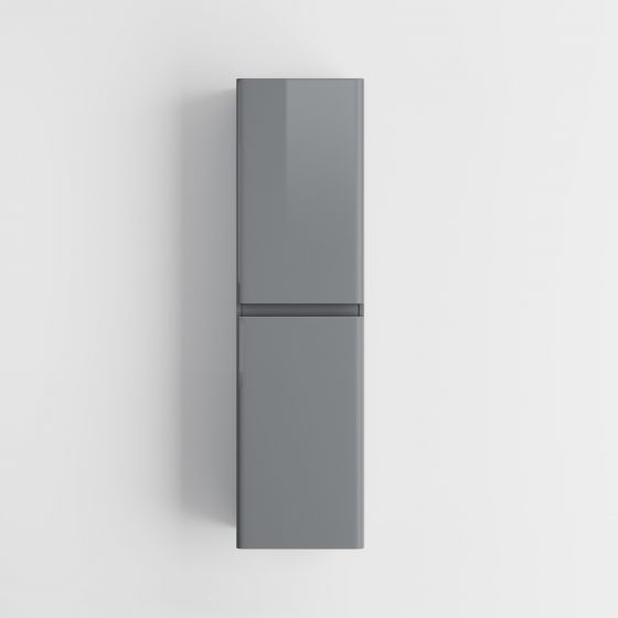1400mm Denver II Gloss Grey Tall Wall Hung Storage Cabinet -Wall