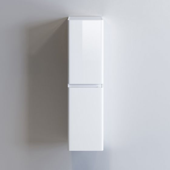 1400mm Denver II Gloss White Tall Storage Cabinet - Wall Hung