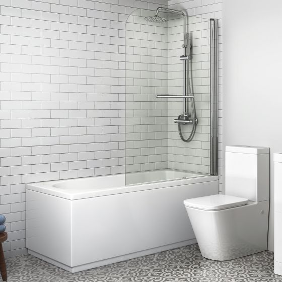 1500mm Straight Bath, Large Screen & Rail - Round Design