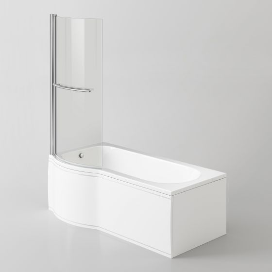1500mm - P-Shaped Bath with Screen, Rail & Side Panel -Left Hand