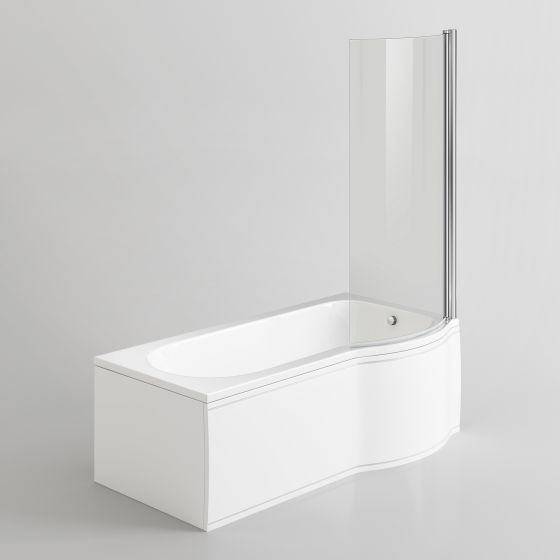 1500x800mm - Right Hand P-Shaped Bath with 6mm Screen & Front