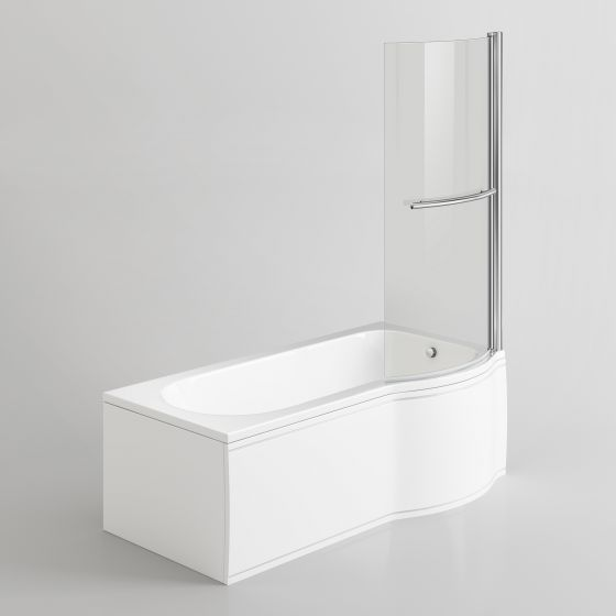 1500mm - P-Shaped Bath with Screen, Rail & Side Panel-Right Hand
