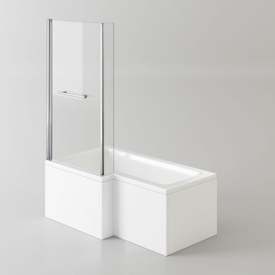1500x850mm Left Hand L-Shaped Bath - 6mm Screen, Rail & Front