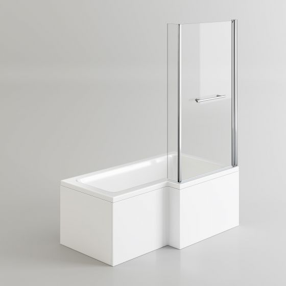 1500x850mm Right Hand L-Shaped Bath - 4mm Screen, Rail & Front