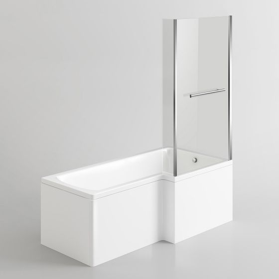 1500mm - L-Shaped Bath with Screen, Rail & Side Panel-Right Hand