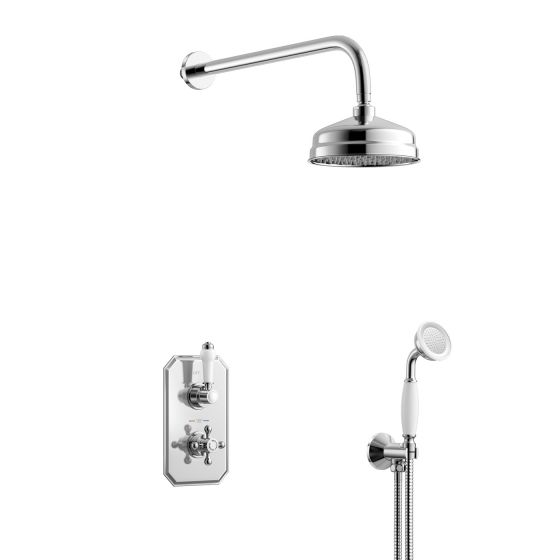 150mm Traditional Stainless Steel Wall Mounted Head, Rail Kit
