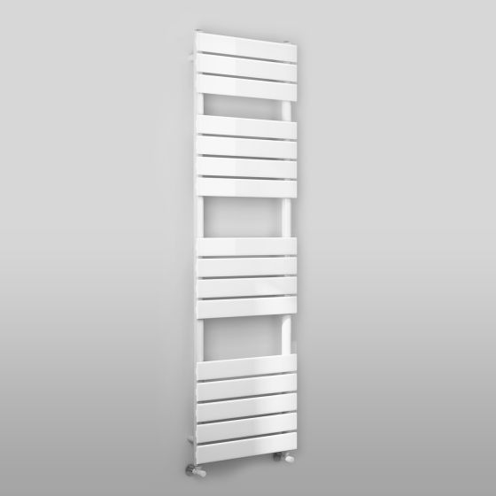 White Flat Panel Ladder Towel Radiator - 1600x450mm