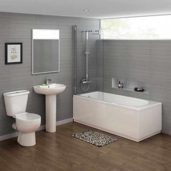 1600x700mm Crosby Straight Shower Bath Suite