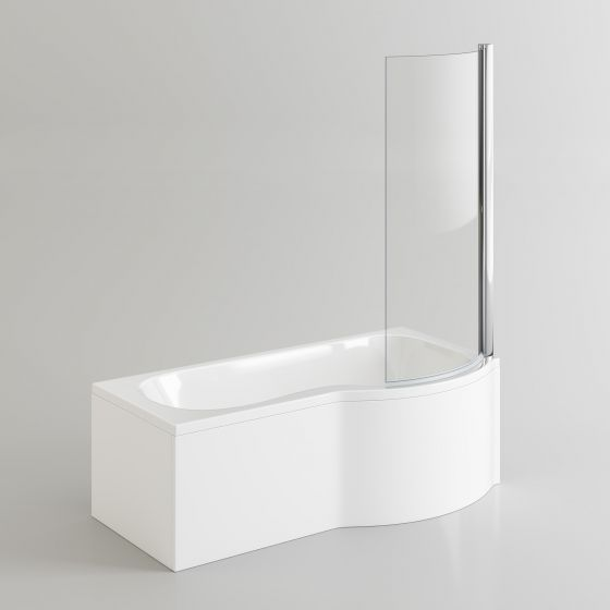 1675x850mm - Right Hand P-Shaped Bath with 6mm Screen & Front