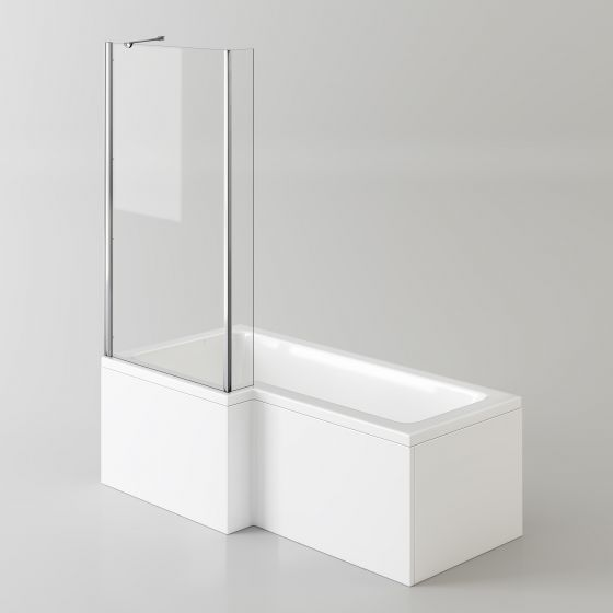 1700x850mm Left Hand L-Shaped Bath - 4mm Screen & Front Panel