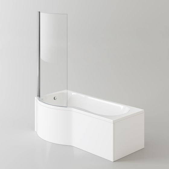 1700x850mm - Left Hand P-Shaped Bath with 6mm Screen & Front