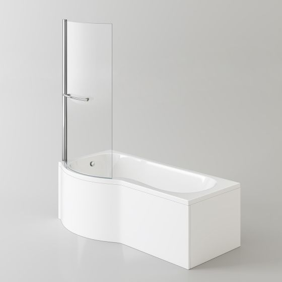 1700x850mm - Left Hand P-Shaped Bath with 4mm Screen, Rail