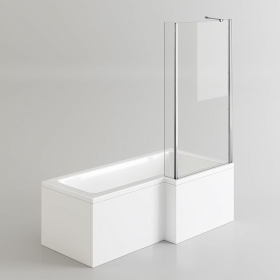 1700x850mm Right Hand L-Shaped Bath - 4mm Screen & Front Panel