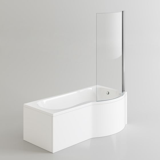 1700x850mm - Right Hand P-Shaped Bath with 6mm Screen & Front