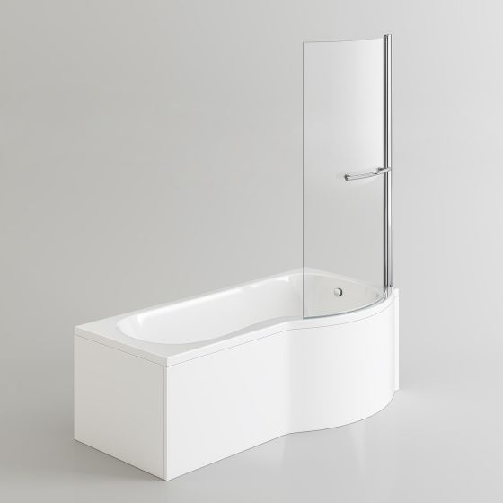 1700x850mm - Right Hand P-Shaped Bath with 4mm Screen, Rail