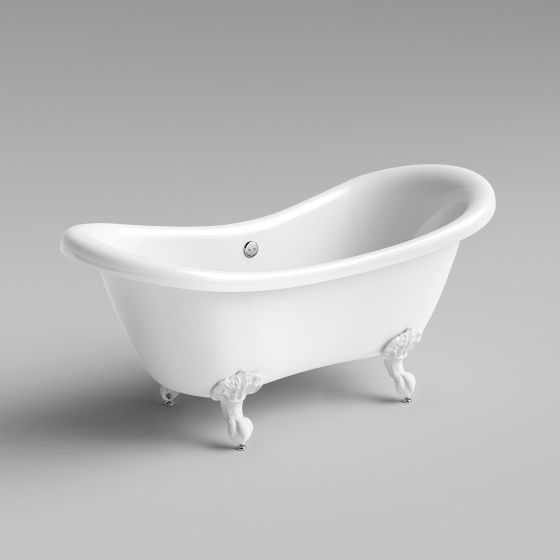 1760mm Victoria Traditional Roll Top Double Slipper Bath - White