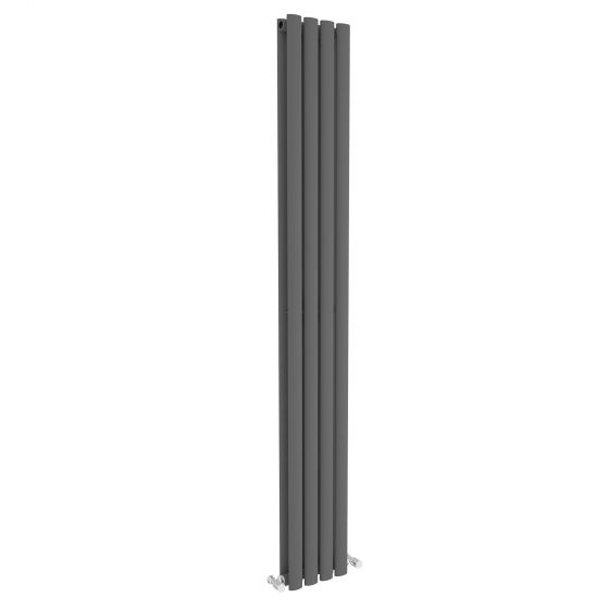 Anthracite Double Oval Tube Vertical Radiator 1800x240mm