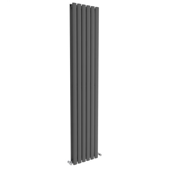 Anthracite Double Oval Tube Vertical Radiator 1800x360mm