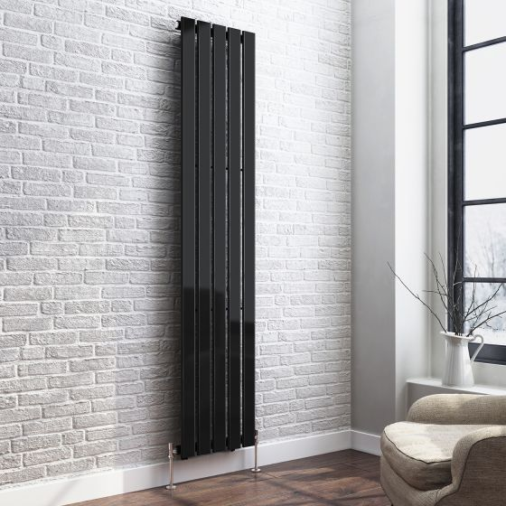 1800x376mm Gloss Black Single Flat Panel Vertical Radiator-Thera