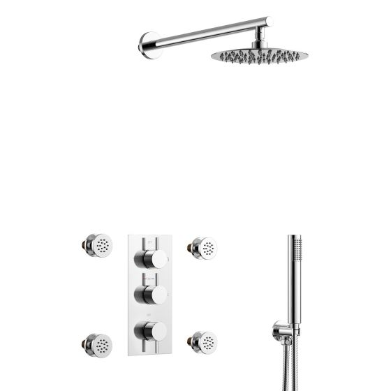 Round Thermostatic Concealed Shower Set 200mm Head & Body Jets