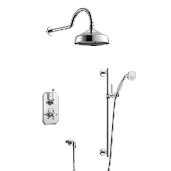 200mm Traditional Stainless Steel Wall Mounted Head, Rail Kit
