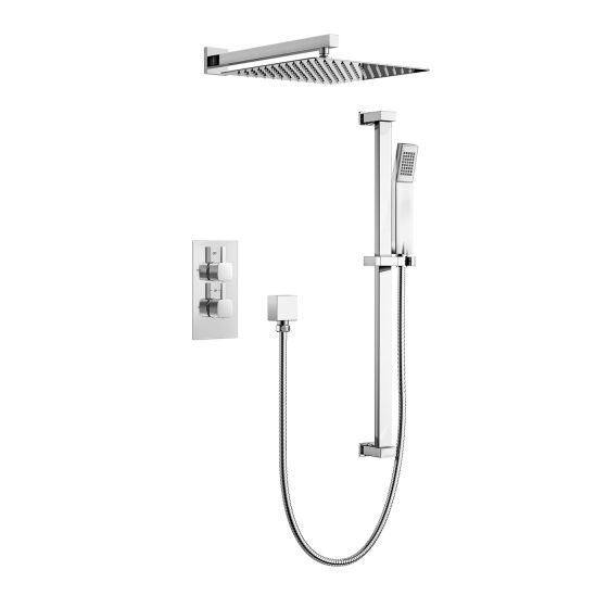 Square Thermostatic Concealed Shower Kit with 300mm Head and Wal