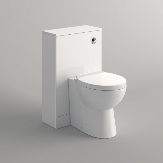 500mm Gloss White Slimline Back To Wall Toilet Unit - Crosby II