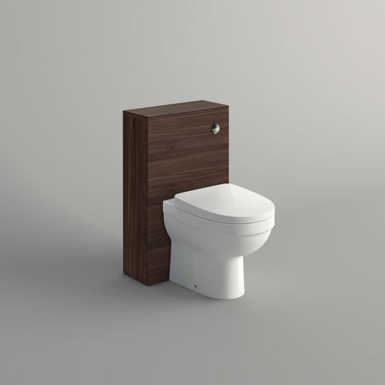 500mm Walnut Effect Slimline Back To Wall Toilet Unit - Sabrosa