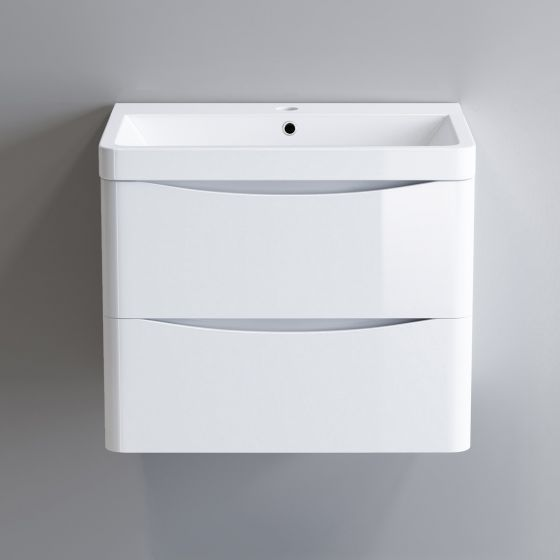 600mm Austin II Gloss White Built In Basin Drawer Unit - Wall