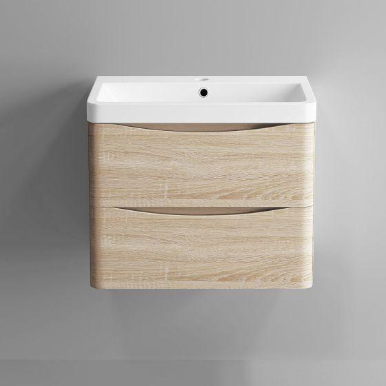 600mm Austin II Light Oak Effect Built In Basin Drawer Unit