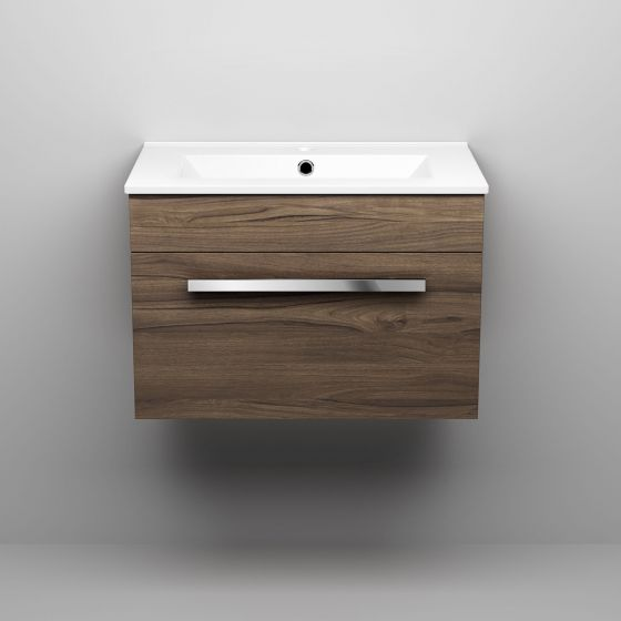 600mm Avon Walnut Effect Basin Cabinet - Wall Hung