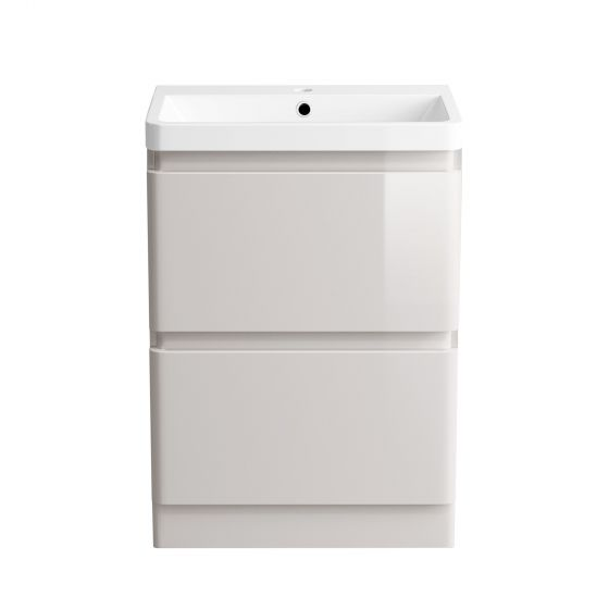 600mm Denver II Gloss Cashmere Built In Basin Drawer Unit -Floor