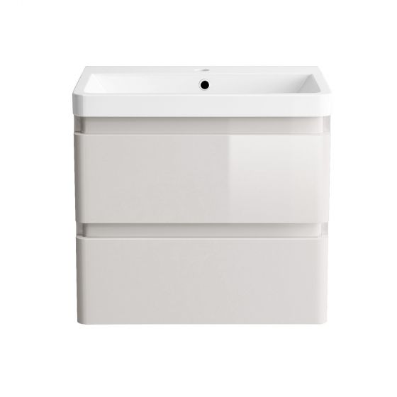 600mm Denver II Gloss Cashmere Built In Basin Drawer Unit - Wall