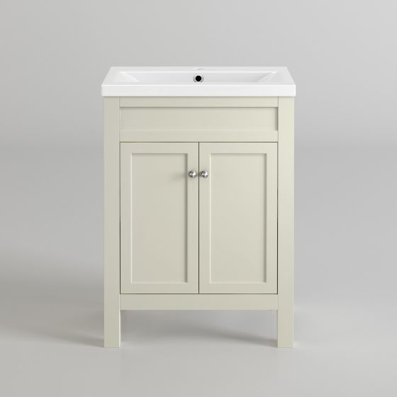 600mm Melbourne Ivory Double Door Vanity Unit - Floor Standing