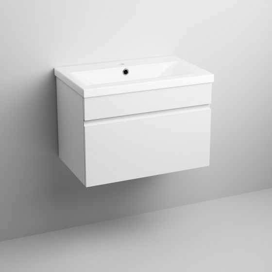 600mm Trent High Gloss White Basin Cabinet - Wall Hung