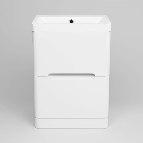 600mm Tuscany Gloss White Built In Basin Double Drawer Unit