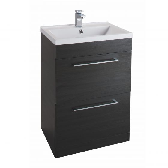Icon Black 600mm Free Standing Drawer and basin Unit